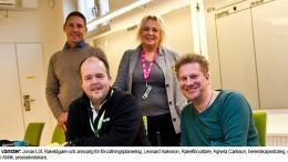 MSB: Från vänster Jonas Löf, Rakelägare och ansvarig för förvaltningsplanering, Leonard Isaksson, Rakelförvaltare, Agneta Carlsson, beredskapsstrateg, och Stefan Ahlrik, pressekreterare.